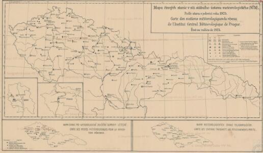 Mapa činných stanic v síti státního ústavu meteorologického (SÚM): podle stavu v polovici roku 1925 = Carte des stations météorologiques du réseau de l'Institut central météorologique de Prague : état au milieu de 1925