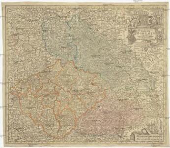 Mappa geographica regnum Bohemiae cum adiunctis ducatu Silesiae et marchionatib[us] Moraviae et Lusatiae repraesentans