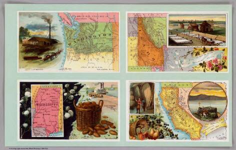 Washington, Idaho, Mississippi, California.
