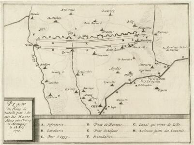 Plan Du Champ de Battaille pour l'Armée des Hauts-Allies entre Vitry et Montigny le 28. May 1710