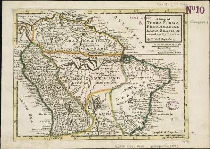 A map of Terra Firma Peru, Amazone-land, Brasil & the north p[art] of La Plata