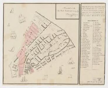 This plan of the city of New York (within the palisades which were erected in the year 1745) was made for the purpose of shewing the progress and extent of the Great Fire which happened in the year 1776, the number of houses that was consumed, and also the Fire of 1778