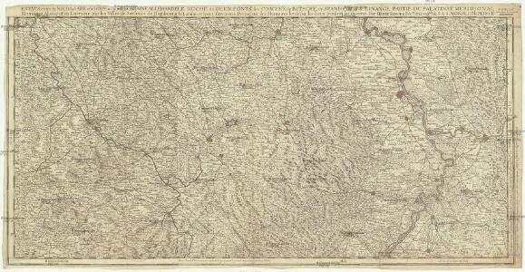 Estats entre la Nied la Sare et le Rhin ou sont la Lorraine allemande le duché de Deux Ponts, les comtés de Bitsche, de Spanheim et de Linange, partie du palatinat meridional l'entrée en Alsace et en Lorraine par les villes de Sarlouis de Hombourg de Landau et leurs environs