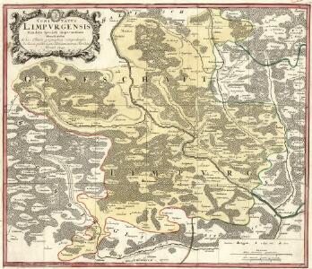 Comitatus Limpvrgensis Mandato Speciali imperatium mensuratus & hac Tabula geographica comprehensus In lucem prodit Curis