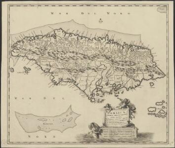 Jamaica, Americae septentrionalis ampla insula, a Christophoro Columbo detecta, in suas gubernationes peraccurate distincta