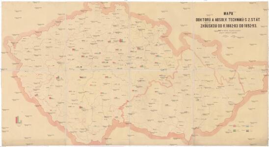 Mapa doktorů a absolv. techniků s 2. stát. zkouškou od r. 1882-83 do 1892-93