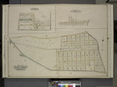 Queens, Vol. 3, Double Page Plate No. 10; Sub Plan    Creedmoor. [Map bounded by Pistol Ave., Rang Park Ave., Muskit Ave., Alley Road, Rocky Hill Road, Shaler Ave., Sabre Ave.; Including Power St., Bullet St.]; Sub  Plan Creedmoor Lawn. [Map bounded b