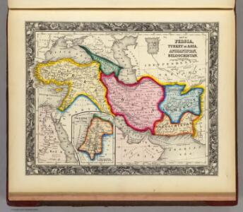 Map of Persia, Turkey In Asia. Afghanistan, Beloochistan.
