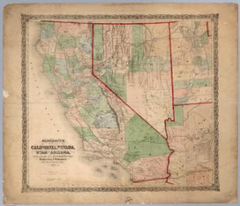 Bancroft's Map Of California, Nevada, Utah And Arizona.