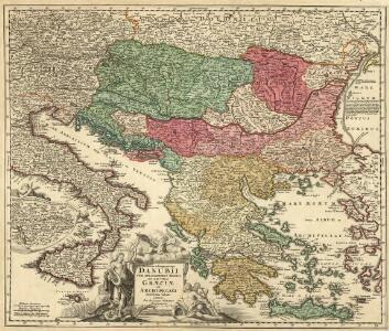Fluviorum in Europa principis Danubii cum Adiacentibus Regnis nec non totius Graeciae et Archipelagi Novißima Tabula