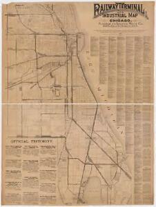 Railway terminal and industrial map of Chicago : showing the termini, connections, and general system by which interchanges and transfers of freights are effected between all railroads centering in and about Chicago, also indicating the location of freight and pasenger depots, elevators, warehouses, coal, ore, and other docks, and the leading manufactories, with an alphabetical list of the principle industries located along the lines of the same