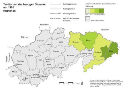Territorium der heutigen Slowakei um 1900. Ruthenen