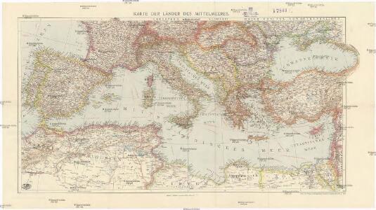 Karte der Länder des Mittelmeeres