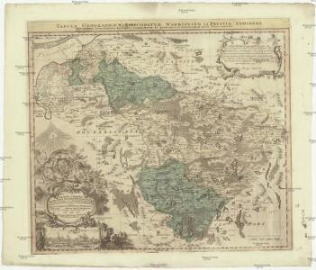 Tabvla geographica episcopatvm Warmiensem in Prvssia exhibens, Heilsberg, solita habitatio episcopalis, longitudinem 38. graduum, et 16. minutorum ab insula Ferro numerat