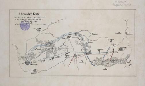 Übersichts Karte für den Marsch der Aliirten Armee, begonnen in der Nacht vom 1ten auf den 2ten Juli, beendet am 4ten Juli 1761