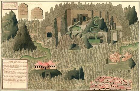 Plann der bei Cornial in Karst, wunderbahren, und ungenein grossen Grotta. In diser Grotta kan man under irdisch gehen, bis widach ist 3 1/2 Theil