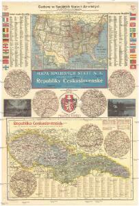 Mapa Spojených států S. A. s označením českých osad a Republiky československé