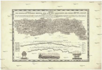 Karte der Eisenbahn zwischen Budweis und Linz zur Verbindung der Donau mit der Moldau