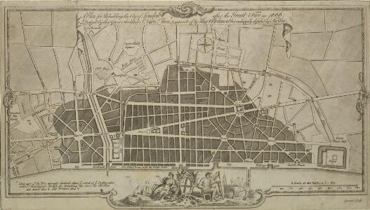 A Plan for Rebuilding the City of London after the Great Fire in 1666; Designed by that Great Architect Sr Chrisr. Wren; & approved by King and Parliament, but unhappily defeated by Faction.