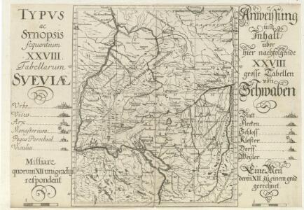 Typus ac Synopsis sequentium XXVIII Tabellarum Sveviae = Anweissung und Inhalt über hier nachfolgende XXVIII grosse Tabellen
