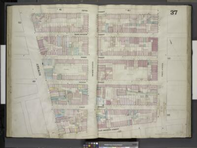 [Plate 37: Map bounded by Fifth Street, First Avenue, East Houston Street, Bowery; Including East Fourth Street, Third Street, Second  Street, First Street, Second Avenue]