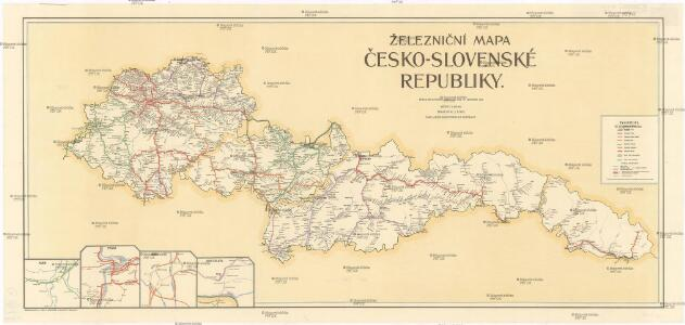 Železniční mapa Česko-Slovenské republiky
