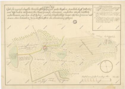 Hraniční mapa mezi novohradským a českokrumlovským panstvím u vsí Netřebice a Rozpoutí 1