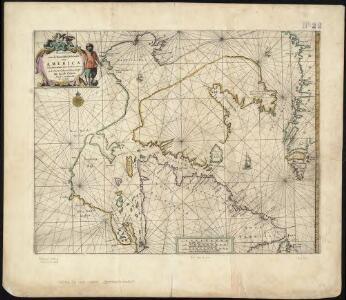 Paskaert van de Noordelijckste kuste van America van Groenland door de Straet Davis en de Straet Hudson tot Terra Neuf