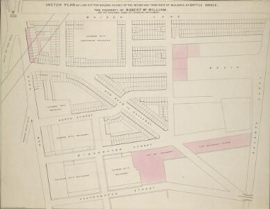 SKETCH PLAN AS LAID OUT FOR BUILDING HOUSES OF THE SECOND AND THIRD RATE OF BUILDINGS AT BATTLE BRIDGE, THE PROPERTY OF ROBERT Mc WILLIAM AND THE TRUSTEES UNDER HIS MARRIAGE SETTLEMENT.