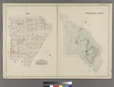 [Plate 36: Bounded by Fifteenth Street, Eleventh Avenue, 19th Street, Tenth Avenue, 20th Street and Ninth Avenue. (Includes the Plan of Prospect Park.)]