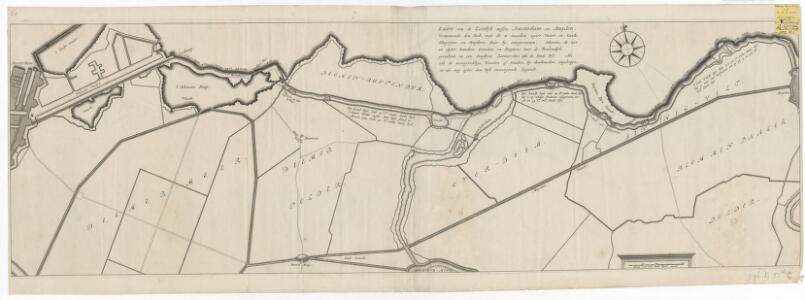 Kaart van de zeedyk tussen Amsterdam en Muyden, vertoonende den dyk, met de te maaken agter-vaart en kaade, sluyjens en duykers, daar by aangeweezen ...