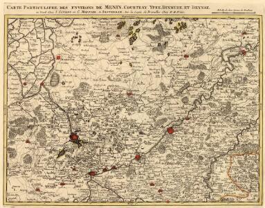 Carte Particuliere des environs de Menin, Courtray, Ypre, Dixmude, et Deynse
