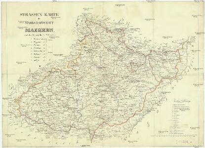 Strassen Karte der Markgraftschaft Maehren, und des Herzogthums Schlesien