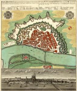 Plan du Mayence, ville fort de l'Archeveché du meme Nom située sur le Bord du Rhin au Confluant du Mayn a. 50 Degres de Latitude et 25°30' de Longitude: