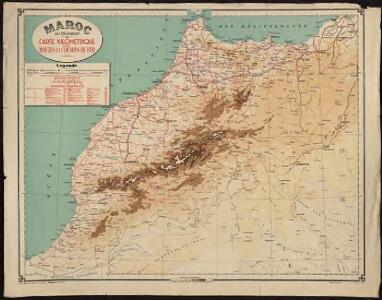 Maroc au 1 500 000e. Carte kilométrique des routes et chemins de fer