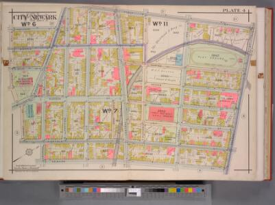 Newark, V. 1, Double Page Plate No. 4 [Map bounded by 1st St., Orange St., Newark St., Cabinet St.] / by J.M. Lathrop and L.J.G. Ogden ; assisted by E. Robinson and G.M. Monroe.