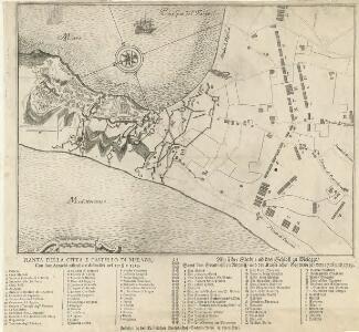 Pianta della Citta e Castello di Melazo, Con suoi Attachi offensivi e diffensivi nel 1718 e 1719