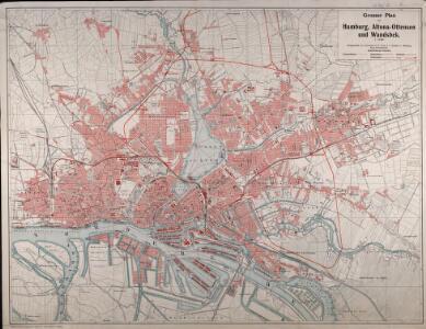 Grosser Plan von Hamburg, Altona-Ottensen und Wandsbek
