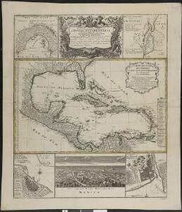 Mappa Geographica, complectens I. Indiae Occidentalis Partem Mediam Circum Isthmum Panamensem II. Ipsumq[ue] Isthmum III. Ichnographiam praecipuorum locorum & portuum ad has terras pertinentium
