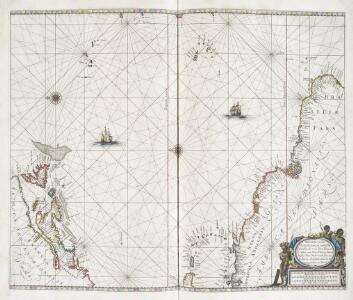 Pascaerte vande Vlaemsche, Soute, en Caribesche Eylanden, als mede Terra Nova, en de custen van Nova Francia, Nova Anglia, Nieu Nederlandt, Venezuela, Nueva Andalusia, Guiana en een gedeelte van Brazil.