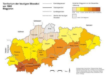 Territorium der heutigen Slowakei um 1900. Magyaren