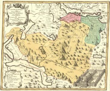 Canton Schweiz sive Pagus Helvetiae Suitensis cum confinibus recenter delineatus