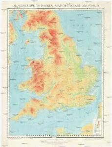 Ordnance survey physical map of Englad and Wales