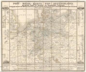 Post-Reise-Karte von Deutschland mit spezieller Angabe der Eisenbahn- und Dampschiffahrt- Verbindungen