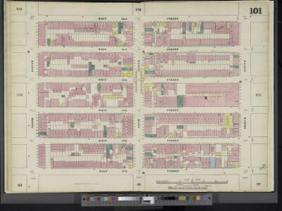 Manhattan, V. 5, Double Page Plate No. 101 [Map bounded by W. 52nd St., 8th Ave., W. 47th St., 10th Ave.]