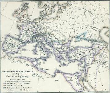 Verbreitung der Religionen im Anfange von Justinians Regierung