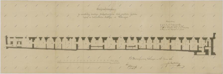 Plán nových podlah v archivu v Třeboni 1