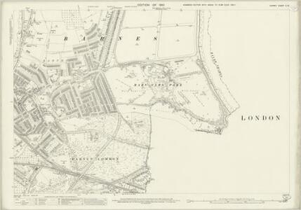 Surrey II.14 (includes: Barnes; Fulham; Wandsworth Borough) - 25 Inch Map