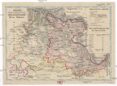 Charte ehermaliger Burgen & Vesten im Bidžower & Koeniggrätzer Kreise Böhmens